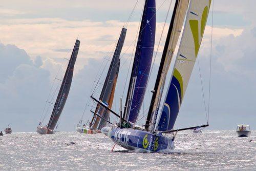 French sailor and race winner François Gabart and MACIF lead the fleet of Open 60s