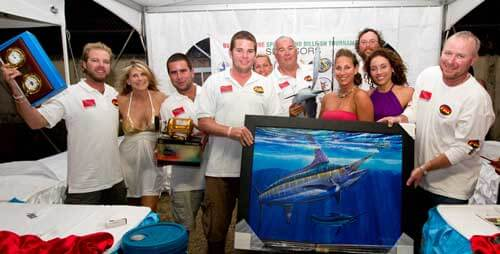 Crew of Abracadabra with their haul of trophies