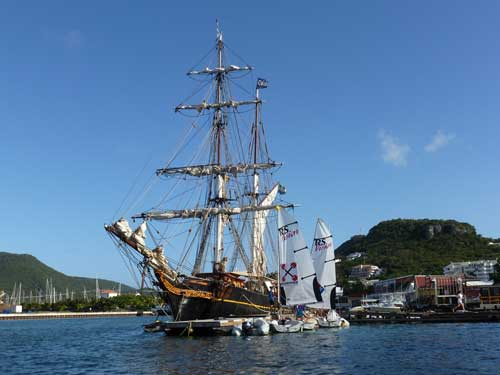 Tres Hombres, the only engineless sail training cargo vessel in the western hemisphere, at the St Maarten Yacht Club dock  Photo: Rosie Burr