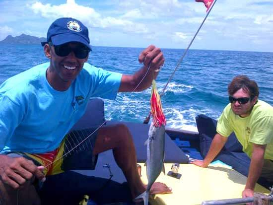 Danny Donelan, Assistant Manager at Camper & Nicholsons Port Louis Marina, catches Dinner!