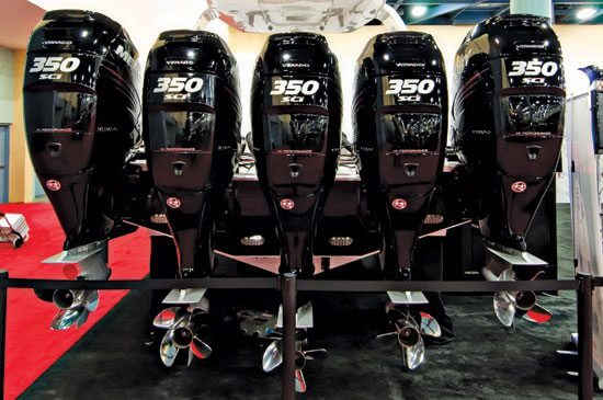 Outboard Motors on Display at the Miami Boat Show