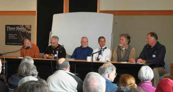North West Maritime's Spring Symposium panel, from left: Capt Fatty Goodlander, Chris Brignoli, Don Stabbert, Steve D'Antonion, Brion Toss and Chuck Hawley