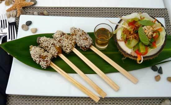 Sesame Coated Shrimp Kebabs with Asian Coconut Bowl Side Salad