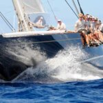 Hanuman's crew looks for the mark while heading upwind near Necker Island