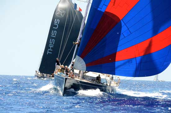 This Is Us (left), winner of the 2012 Bucket, sails toward the finish line