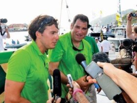 French sailors Charlie Dalin (left) and Gildas Morvan, winners of the 2012 Transat ag2r. Photo by Rosemond Gréaux