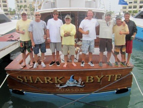 Aboard the Winning Boat, from left: Chris Wood, John Bayliss, Bryce Garvey, Nick Rauco, Capt. Rich Barrett, Pete Cherasia, Kyle Francis and Brandon Walton