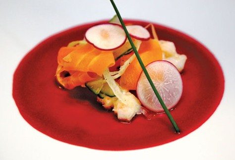 Shaved Vegetable Salad by Chef Thomas Francque of M/Y Passion winner in the MYBA Chef Competition, St. Maarten 2009; 3rd in the Charter Yacht show in Antigua in 2010, 2011 and 2012.