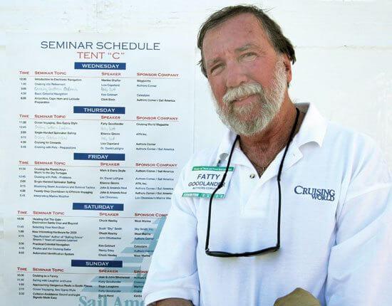 Cap'n Fatty Goodlander wearing his Cruising World Shirt!  Guess we need to get him an All At Sea shirt...