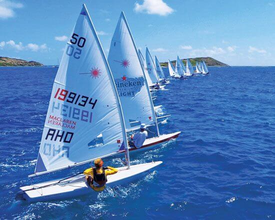The start of the 23rd Heineken Light Open Caribbean Laser Championships in Orient Bay. Photo: Ruargh Findlay