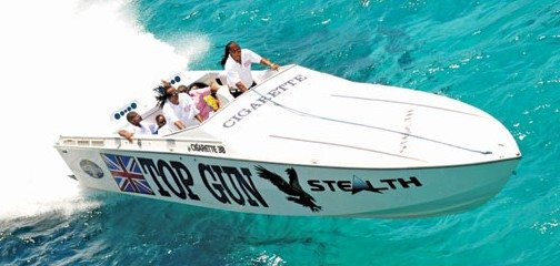 The passengers aboard Top Gun of Tortola speed to the first stop at Scrub Island. Photo By Todd VanSickle