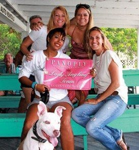 The Ladies Angling Team – Clockwise from left: Belinda Martin, Delphine Hartshorn, Patricia Hardwick (with dog K.O.), and Morgan Luker