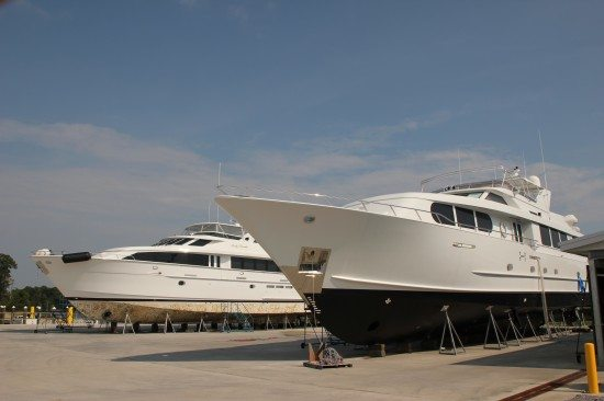 Yachts on the Hard at Saunders Yachtworks Boatyard in Gulf Shores AL