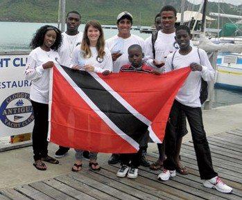 Caribbean Dinghy Championships - The Trinidad & Tobago Team – Daniel Briggs, Wesley Scott, Kelly Ann Arrindell, Michael Stewart, Patrick Francois & Joshua Belle. Team Manager Christopher Lambert & Elizabeth Suite