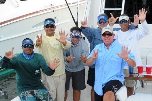 Puerto Rico's Peje wins Top Boat in 40th Anniversary USVI Open/Atlantic Blue Marlin Tournament. L to R: William Oquendo, Capt. Juan Antonio Garcia, Javier Aldrey, Jose Pazos, Carlos Garcia and Carlos Chapel.