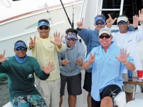 Puerto Rico's Peje wins Top Boat in the Atlantic Blue Marlin Tournament – (from left): William Oquendo, Capt. Juan Antonio Garcia, Javier Aldrey, Jose Pazos, Carlos Garcia and Carlos Chapel. Photo: Dean Barnes