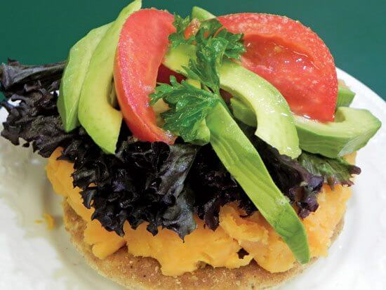 Sweet Potato Burgers Topped with Avocado