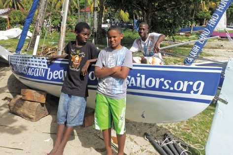 Young Bequia sailors on their way to the top: Oreakay Joseph, Keon Gooding and Shain Farrell. Photo: Ellen Birrell