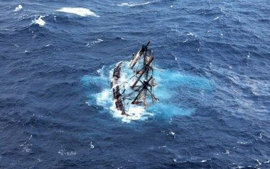 The 180-foot tall ship HMS Bounty is shown submerged in the Atlantic Ocean during Hurricane Sandy. Photo by USCG Petty Officer 2nd Class Tim Kuklewski