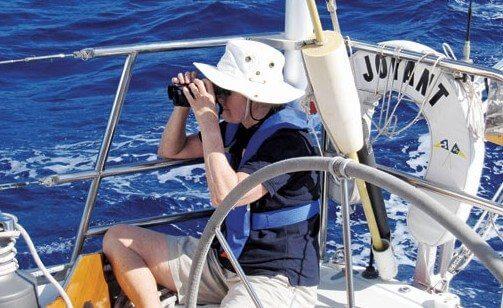 Dorothy Wadlow on Joyant bird watching at sea