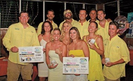 Guy/Gal Tournament Overall Winner Living the Dream (from left): David Johnson (owner/relief captain), Chelsy Harris (angler), Robyn Finch (angler), Nichole Johnson (owner/angler), Darby Schneider (angler), Sarah Ridgway (angler), AK Lovarco (mate), Austin Schneider (captain). Photo: Alda Anduze