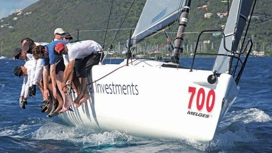 INTAC powers up the Sir Francis Drake Channel during the Peg Legs Round Tortola Race. Photo courtesy of Broadsword Communications