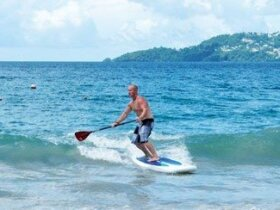 Grand Anse shore break SUP action