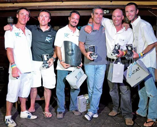 Winners of the 2012 St Barth Cata Cup (left to right) Vincent and Emmanuel Boulogne, 'Kéki' and 'Kiké' Figueroa, John Casey and Dalton Tebo. Photo: Rosemond Gréaux