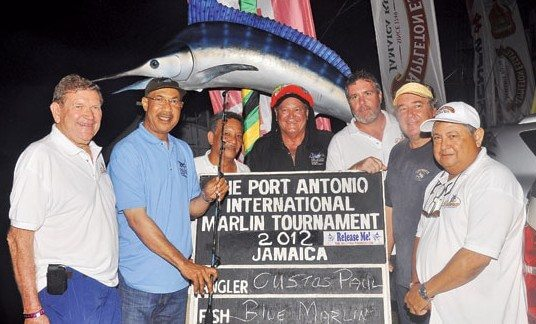 The Winning Diana Team (from left): Richard Stewart, Sir Patrick Allen, Capt. Greg Lue Tenn, Rasta Doc DuQuesnay, David Levy, Capt. Custos Paul Muschett and Elias Brimo. Photo courtesy of PAIMT