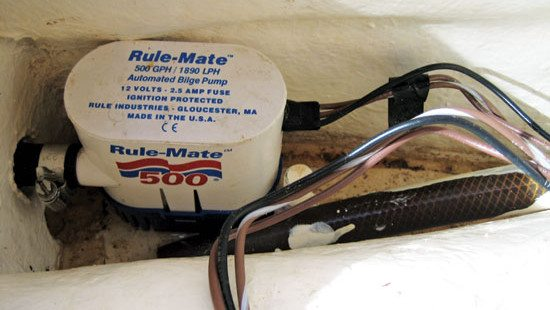 Electric Bilge pumps with built-in float switch. Photo: OceanMedia