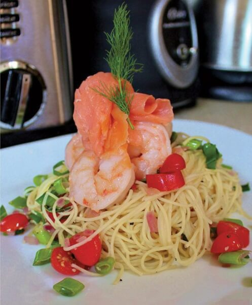 Simple Angel Hair Pasta with Shrimp and Smoked Salmon