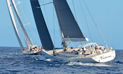 Visione, winner of the 2012 New Year's Eve Regatta in St Barth. Photography by Rosemond Gréaux