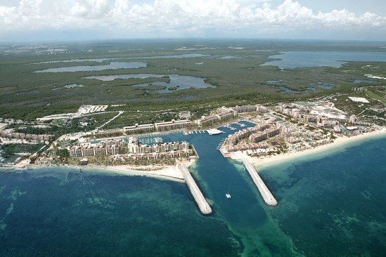 Aerial View of IGY's La Amada Marina in Cancun Mexico