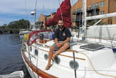 After a year spent refitting Saoirse, Fighter Pilot John Peltier set off on Oct. 20, 2012 to cruise south toward Patagonia. Photo credit Jules Norwood
