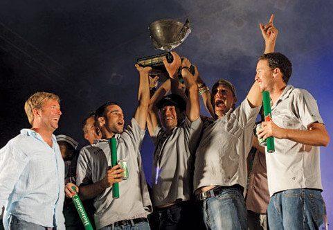 Serious Celebration – Mark Plaxton's Melges 32 Team INTAC earns 'Most Worthy Performance Overall' for the 2013 St. Maarten Heineken Regatta. Photo: Bob Grieser