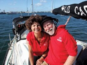 Carolyn and Fatty aboard Wild Card, the Hughes 36 that twice carried them around the world