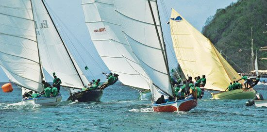Bequia Easter Regatta - Spectacular skills on display for the The First Citizens Big Boat Challenge for the cream of Bequia's double-enders. Photo courtesy of Bequia Sailing Club