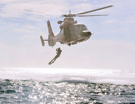 Rescue helicopter in action. Photo courtesy of USCG