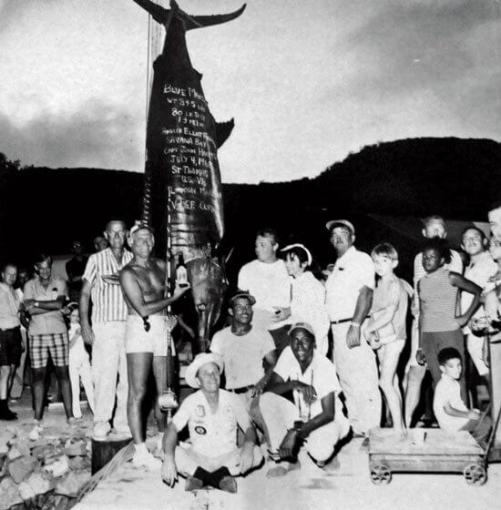 The 845lb blue marlin caught in the 1968 July Open Tournament