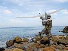 Drones like this one could be used to enforce marine regulations in the future. Photo courtesy of AeroVironment Inc., www.avinc.com