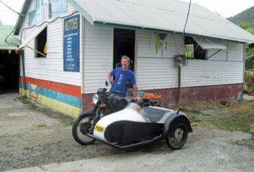 The famous motorcycle and sidecar. Photo by Janet Hein