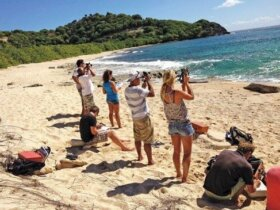 Students practice sun sights during their OnDeck Yachtmaster course. Photo courtesy of OnDeck