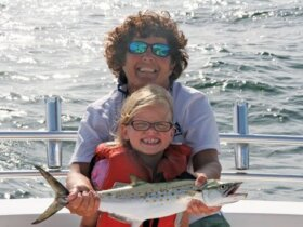 Maddalyn Schmidt and Captain Kathy Brown of Miss Judy Charters