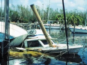 Sunken vessel after a hurricane