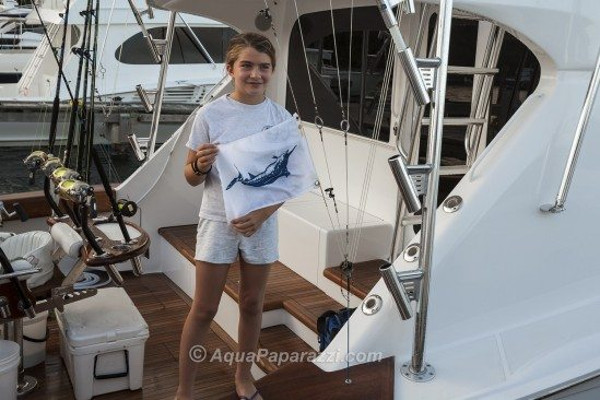 Eleven-year-old Katie Davis from Los Angeles, fishing aboard Canyon Gear, caught her first blue marlin today. She was not competing in the tournament.