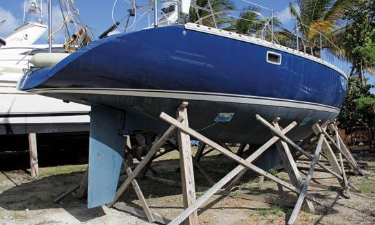 In storage for the hurricane season – shored up and cross-braced. Photo: GEB/OceanMedia