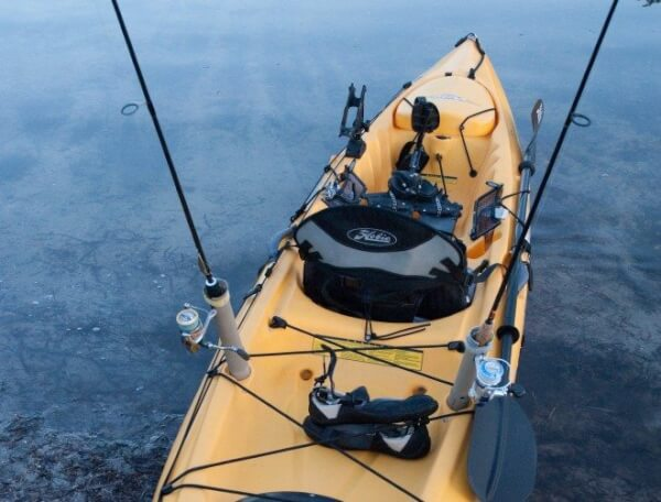 A Hobie kayak rigged and ready to fish.
