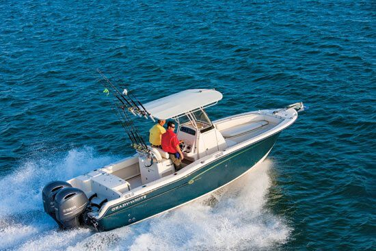 Select models, including the Fisherman 257, are available with colored hulls. Photo courtesy of Grady-White Boats