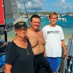 Sailing family (from left): Louise Johnson, John Holmberg, Kai Holmberg. Photo: Dean Barnes