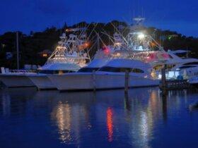 Some of the fishing fleet at night at IGY's American Yacht Harbor Marina. Credit: Dean Barnes